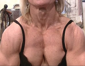 A female bodybuilder learns a few things as she's building up all that massive female muscle