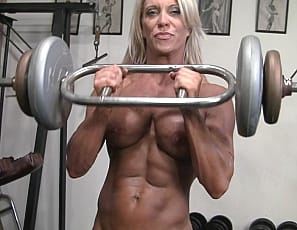 Super sexy muscle cougar Ginger Martin is fit, ripped, and hot
