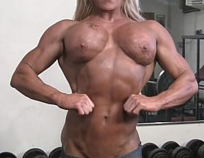 Ginger Martin has some impressive pecs. Ginger Martin has impressive muscle control