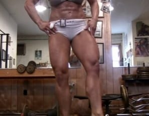 Female bodybuilder Michelle Falsetta is mature enough to know just how to work her muscles in the gym