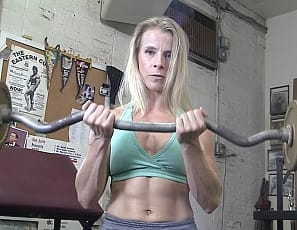 Female bodybuilder Claire enjoys being alone in the gym for leg day