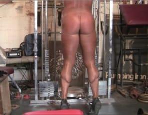 Female bodybuilder Dana is doing curls, pushdowns, shrugs, flys, squats and raises