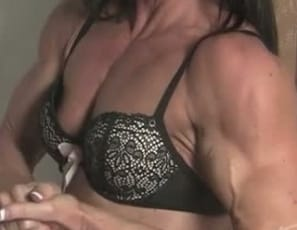 female bodybuilder Tonya poses for you, showing you how ripped the mature muscles
