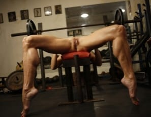 Mandy K's in the gym, posing nude for you