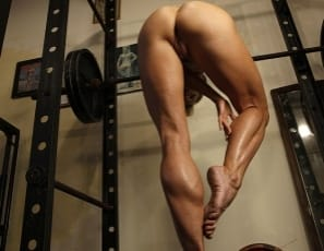 Mandy K is posing in the gym, peeling off her panties until she's nude