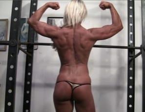 vascular bodybuilder Ginger Martin is as she poses in the gym